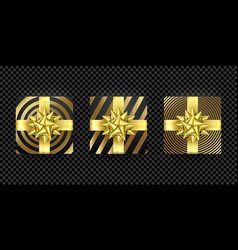 christmas gift box present golden ribbon bow gold vector image