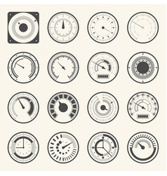 Circular meter collection round gauge icons set vector