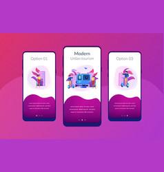 City segway tour app interface template vector
