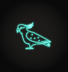 Cockatoo parrot icon in glowing neon style vector