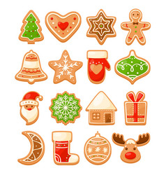 Colorful christmas gingerbread cookies vector
