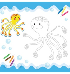 Coloring book octopus vector
