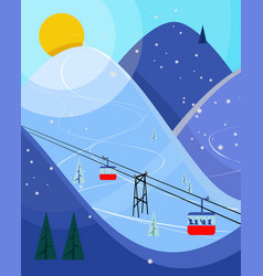 cool pastel cartoon ski poster the mountain vector image