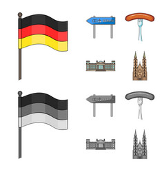 Country germany cartoonmonochrome icons in set vector