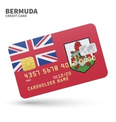Credit card with Bermuda flag background for bank vector