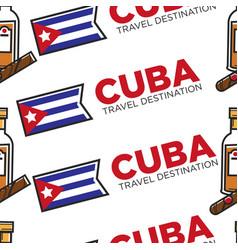 Cuba travel destination national flag rum and vector
