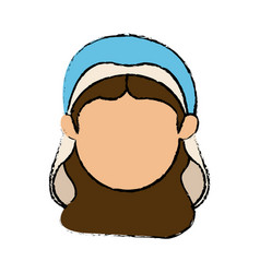 Cute faceless virgin mary manger cartoon vector