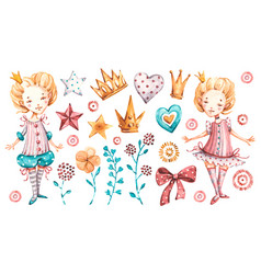 Cute princess bagirl watercolor nursery vector