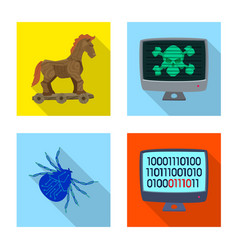 design of virus and secure icon collection vector image