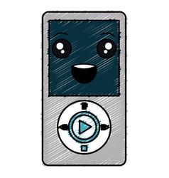 Digital music player kawaii character vector