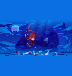 diver girl in ocean with plastic garbage on bottom vector image