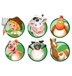 Farmer and farmanimals on round badges vector