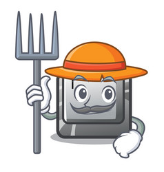 farmer button t isolated in cartoon vector image
