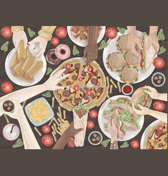 fast food friendly meeting celebration lunch vector image