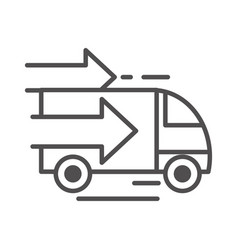fast truck cargo shipping related delivery line vector image