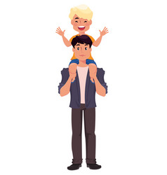 father and son playing happy fathers day greeting vector image