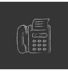 Fax machine Drawn in chalk icon vector