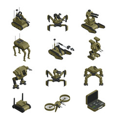 Fighting robots isometric icons vector