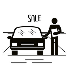 Figure salesman avatar silhouette vector