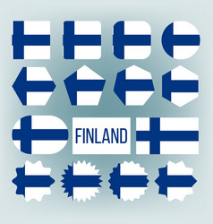 Finland flag collection figure icons set vector