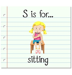 Flashcard letter S is for sitting vector