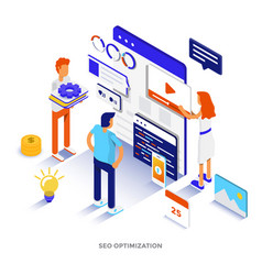 Flat color modern isometric - digital marketing vector