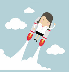 Flying businesswoman with jetpack vector