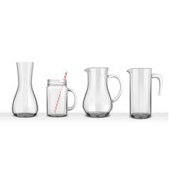 four smooth glass jugs vector image