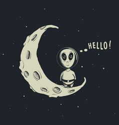 Funny alien astronaut vector