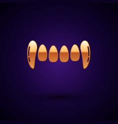 Gold vampire teeth icon isolated on dark blue vector