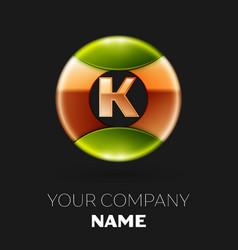 golden letter k logo symbol in golden-green circle vector image