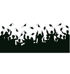 graduates crowd silhouette college graduates vector image