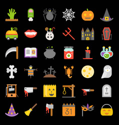 Halloween icon set elements flat design vector