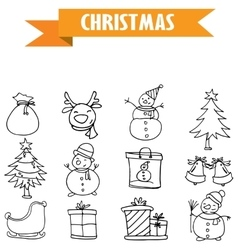 Hand draw object Christmas icons vector