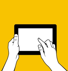 Hands with tablet pc - finger touchs screnn vector image