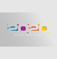 happy 2020 new year card in paper style vector image
