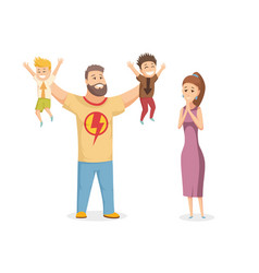 happy family portrait happy family gesturing with vector image