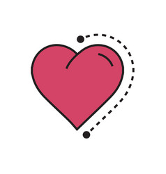 Heart icon dots style pink vector