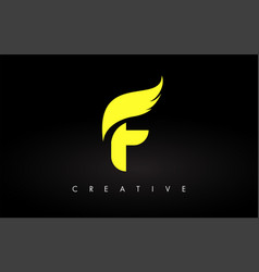 letter f logo with yellow colors and wing design vector image