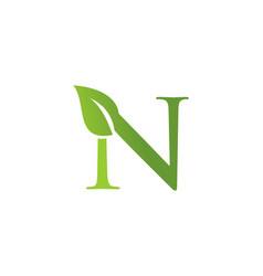 letter n leaf nature logo vector image