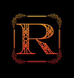 Letter r with ornament vector