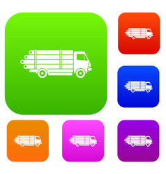 Log truck with the pile of logs set collection vector