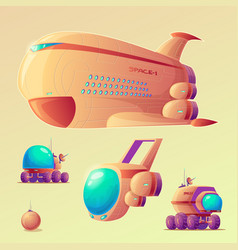 mars colonization objects set vector image