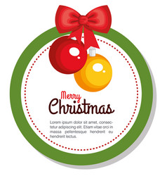 merry christmas balls hanging flower holly berry vector image