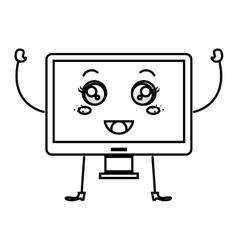 Monitor computer kawaii character vector