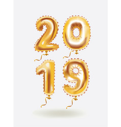 new year 2019 celebration gold air balloons vector image