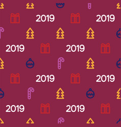 new year 2019 pattern with gifts christmas tree vector image