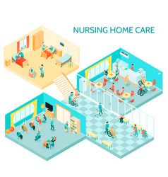 Nursing home care isometric composition vector