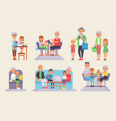 Old grandpa and grandma and yound kids children vector