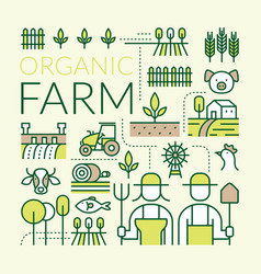 Organic farm line icons set vector
